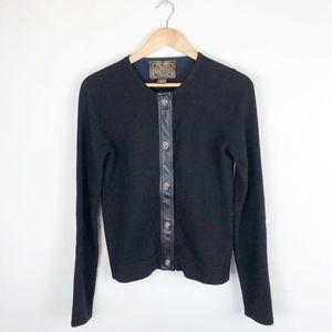 Coach Wool & Leather Toggle Cardigan Sweater